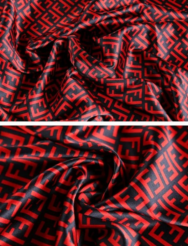 New Collection! Fendi 100% Silk Stretch Inkjet/ Italian Designer fabric Red And Dark Blue F letter Pattern/EXCELLENT Silk Limited Edition/20momme,W108cm,Qual 8