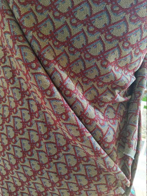 New! Designer Jaquard Cotton Fabric Tapestry Dior Brocade Woven fabric/ Haute Couture Jacquard Upholstery/Fashion Jacquard RED Letters #2 6