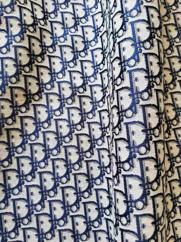 2019 12 15 23 05 482 New! Designer Jacquard Polyester Fabric Tapestry Dior Brocade Woven fabric Jacquard Upholstery/Fashion Jacquard Tapestry Navy BLUE #2 6