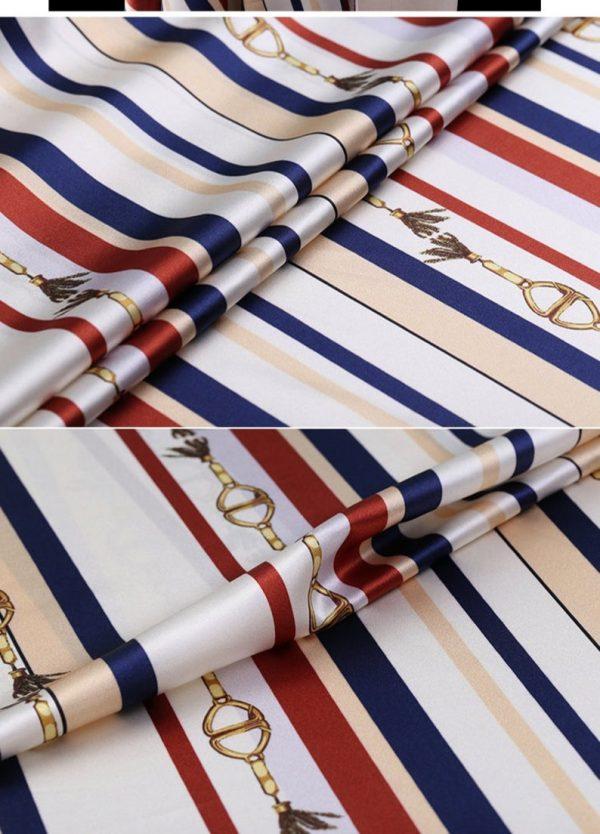 New!Designer Italian Fabric Pure Silk Stretch colour#1 Top Quality/Alta moda Mulberry Silk 19 momme 108cm fabric/Chain and Belt Print 1