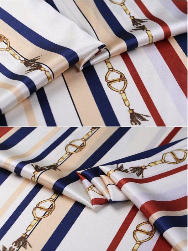 New!Designer Italian Fabric Pure Silk Stretch colour#1 Top Quality/Alta moda Mulberry Silk 19 momme 108cm fabric/Chain and Belt Print 2