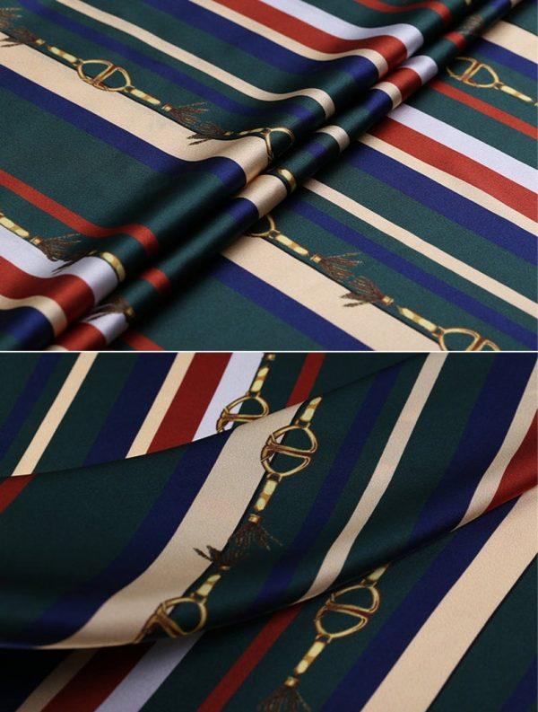 New!Designer Italian Fabric Pure Silk Stretch colour#2 Top Quality/Alta moda Mulberry Silk 19 momme 108cm fabric/Chain and Belt Print 6