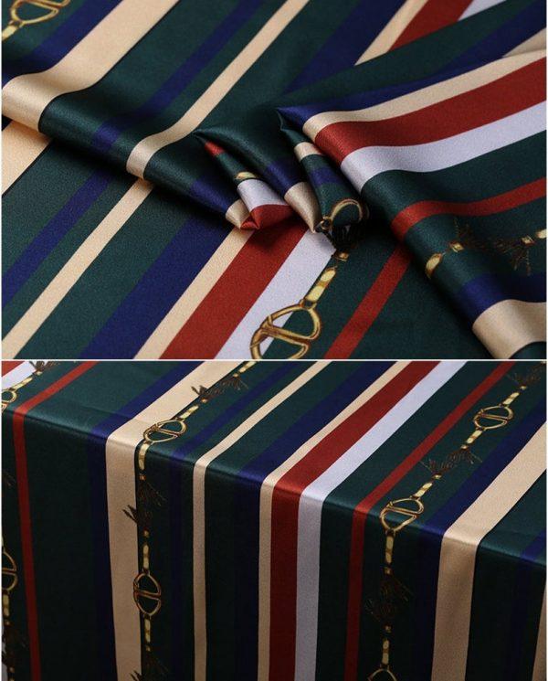 New!Designer Italian Fabric Pure Silk Stretch colour#2 Top Quality/Alta moda Mulberry Silk 19 momme 108cm fabric/Chain and Belt Print 7