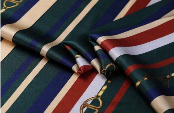 New!Designer Italian Fabric Pure Silk Stretch colour#2 Top Quality/Alta moda Mulberry Silk 19 momme 108cm fabric/Chain and Belt Print 3