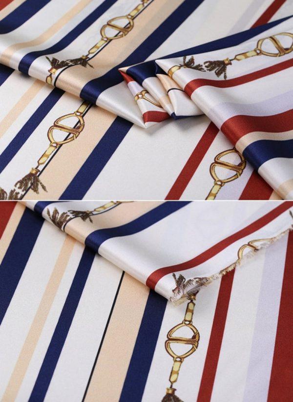 New!Designer Italian Fabric Pure Silk Stretch colour#1 Top Quality/Alta moda Mulberry Silk 19 momme 108cm fabric/Chain and Belt Print 3