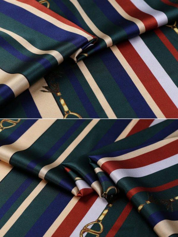 New!Designer Italian Fabric Pure Silk Stretch colour#2 Top Quality/Alta moda Mulberry Silk 19 momme 108cm fabric/Chain and Belt Print 2