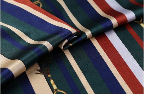 New!Designer Italian Fabric Pure Silk Stretch colour#2 Top Quality/Alta moda Mulberry Silk 19 momme 108cm fabric/Chain and Belt Print 1