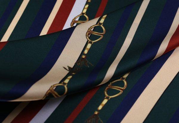 New!Designer Italian Fabric Pure Silk Stretch colour#2 Top Quality/Alta moda Mulberry Silk 19 momme 108cm fabric/Chain and Belt Print 4