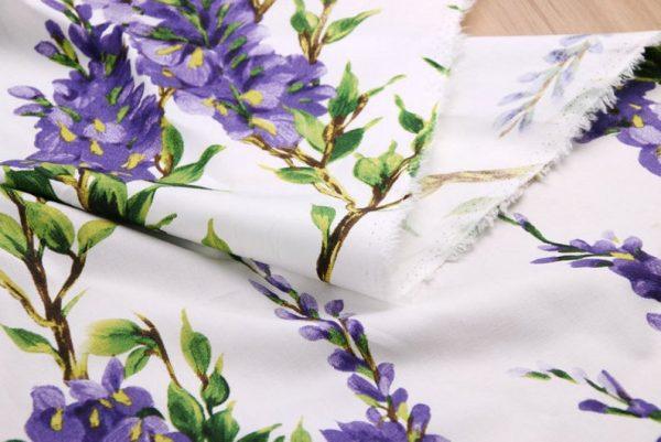 Italian Cotton 100% Beautiful Lilac wisteria Flowers Print Fabric/Organic Cotton Fabric/Poplin Digital Print Cotton Fabric In 4 Colours 4
