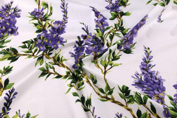 Italian Cotton 100% Beautiful Lilac wisteria Flowers Print Fabric/Organic Cotton Fabric/Poplin Digital Print Cotton Fabric In 4 Colours 5
