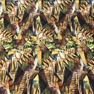 Italian Designer Silk Fabric Art Work/Abstract Painted Silk Fabric