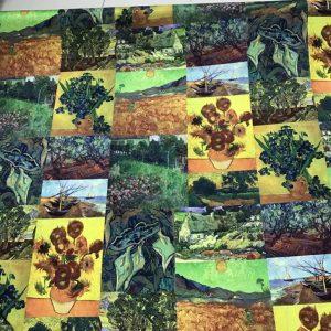Italian Designer Silk Crepe Fabric Van Gogh Paintings on Silk Oil Printed Technique+inkjet/Rare Italian Designer Fabrics/Heavy Double Silk Crepe Fabric/Designer Art Work Fabric for Clothes