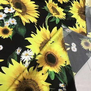 Italian Designer Silk Fabric Sunflowers Pattern/Inkjet Silk Designer Fabric/Art silk fabric