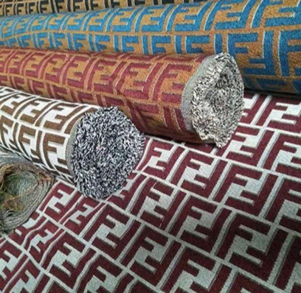Fendi Jacquard Fabric Clothing and Upholstery 30%Cotton 70 Polyester 340gr width 145cm/BLUE letter Print Fendi Brocade Fabric Varies Colours 6 ⋆ Rozitta Rapetti