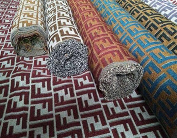Fendi Jacquard Fabric Clothing and Upholstery 30%Cotton 70 Polyester 340gr width 145cm/BLUE letter Print Fendi Brocade Fabric Varies Colours 7 ⋆ Rozitta Rapetti