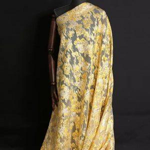 New Collection 3D Italian Satin Bright Yellow Brocade/Incredible Couture Fabric Nylon,Polyester,Satin,organza/Very Rare Brocade Fabric
