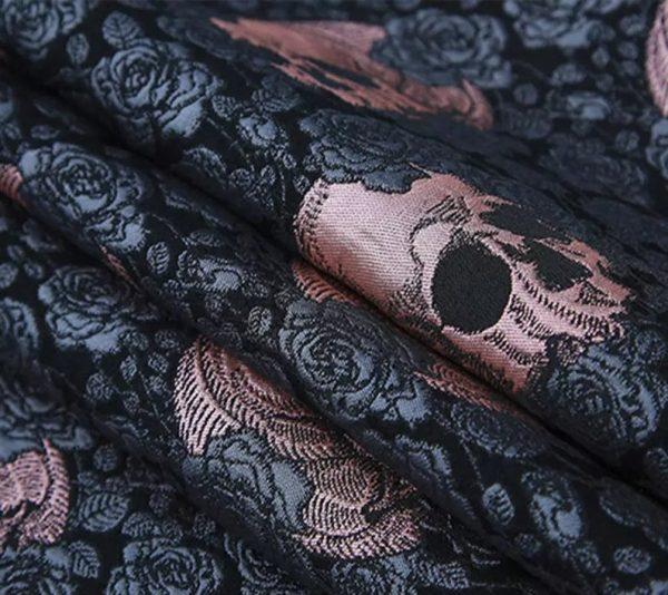 Valentino Italian Jacquard 3D Rose Metallic and Skull Fabric/Designer Yarn Jacquard Cotton Fabric/3D Brocade Roses and Skulls Check Colours/2 2