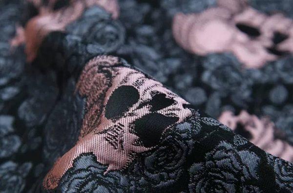 Valentino Italian Jacquard 3D Rose Metallic and Skull Fabric/Designer Yarn Jacquard Cotton Fabric/3D Brocade Roses and Skulls Check Colours/2 3