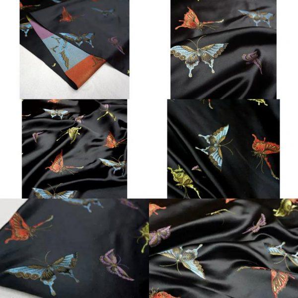 Valentino Italian Designer Fabric Silk Satin Butterfly Pattern/Valentino fashion Week Fabric New Collection Italian Fabrics 1
