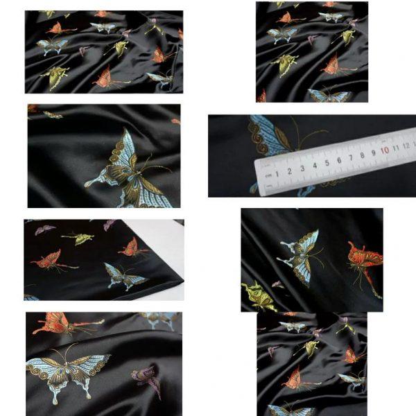 Valentino Italian Designer Fabric Silk Satin Butterfly Pattern/Valentino fashion Week Fabric New Collection Italian Fabrics 3