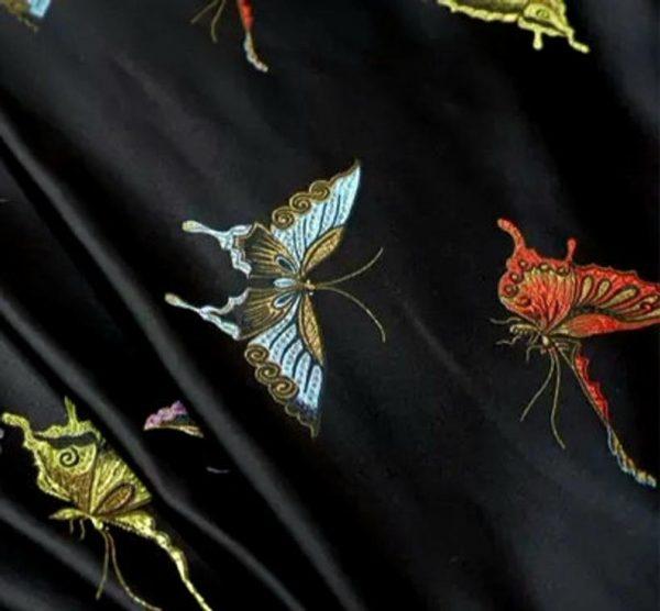 Valentino Italian Designer Fabric Silk Satin Butterfly Pattern/Valentino fashion Week Fabric New Collection Italian Fabrics 4