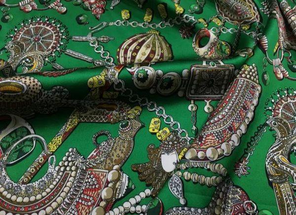 Double Silk Stretch Satin Inkjet 19momme Italian Authentic Designer Fabric Fashion 95% silk 5spandex/Inkjet Jewellery print Fabric 1