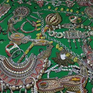 Double Silk Stretch Satin Inkjet 19momme Italian Authentic Designer Fabric Fashion 95% silk 5spandex/Inkjet Jewellery print Fabric
