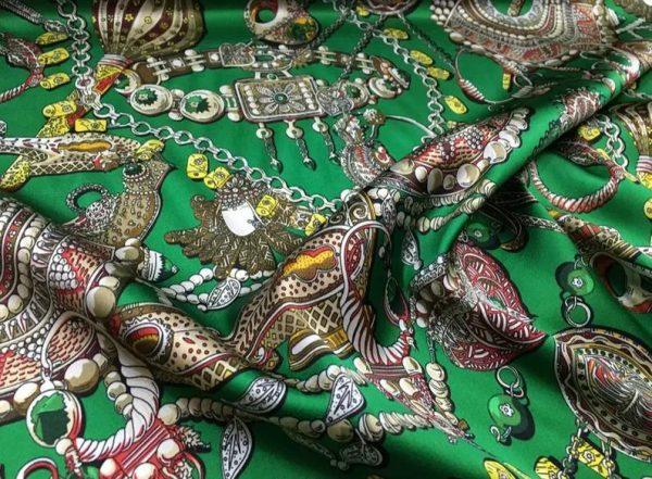 Double Silk Stretch Satin Inkjet 19momme Italian Authentic Designer Fabric Fashion 95% silk 5spandex/Inkjet Jewellery print Fabric 2