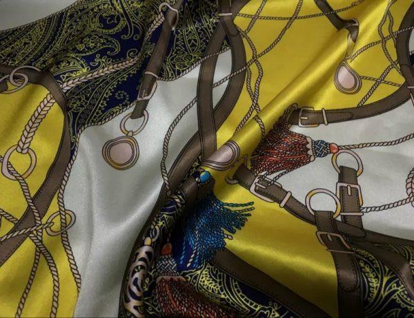 Rare Colour Silk Stretch Inkjet 19momme Italian Authentic Designer Fabric Fashion 95%silk, 5spandex/Inkjet Belt Print Fabric 6
