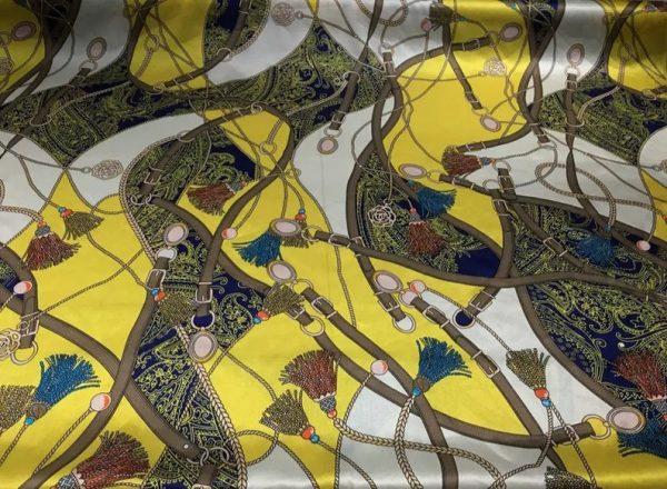 Rare Colour Silk Stretch Inkjet 19momme Italian Authentic Designer Fabric Fashion 95%silk, 5spandex/Inkjet Belt Print Fabric 5