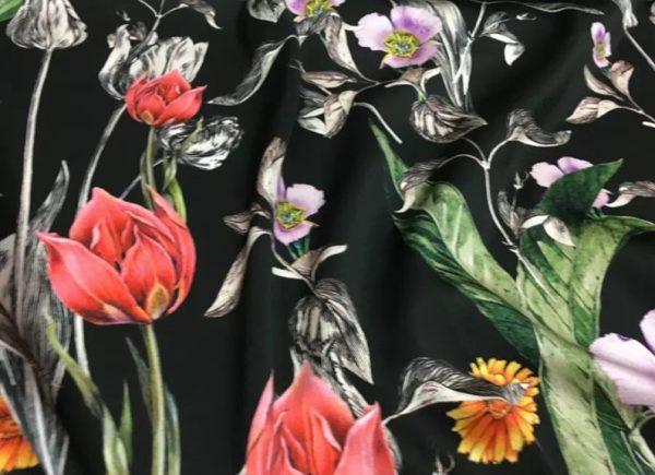 Italian Designer Silk Fabric Floral Pattern Rare Colours Silk Spandex Inkjet 22momme Authentic Fabric Fashion 98%silk, 2spandex/Alta Moda 8 ⋆ Rozitta Rapetti