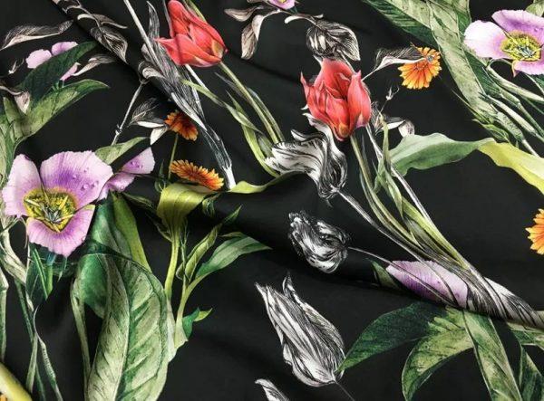 Italian Designer Silk Fabric Floral Pattern Rare Colours Silk Spandex Inkjet 22momme Authentic Fabric Fashion 98%silk, 2spandex/Alta Moda 7 ⋆ Rozitta Rapetti