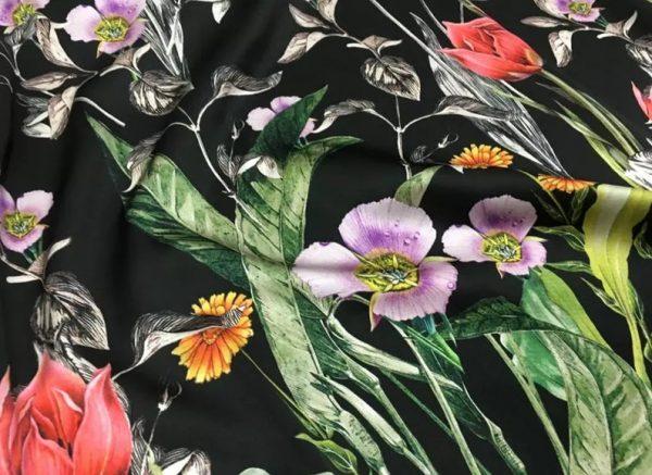 Italian Designer Silk Fabric Floral Pattern Rare Colours Silk Spandex Inkjet 22momme Authentic Fabric Fashion 98%silk, 2spandex/Alta Moda 6 ⋆ Rozitta Rapetti