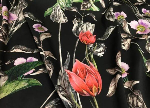 Italian Designer Silk Fabric Floral Pattern Rare Colours Silk Spandex Inkjet 22momme Authentic Fabric Fashion 98%silk, 2spandex/Alta Moda 4 ⋆ Rozitta Rapetti