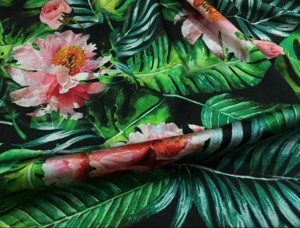 Banana Leaves flowers Italian Designer Silk Fabric Silk Spandex Inkjet 22 momme Authentic Fabric Fashion 95% silk, 5 spandex/Alta Moda 1