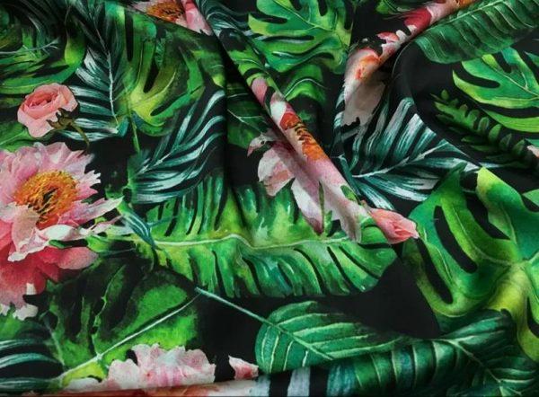 Banana Leaves flowers Italian Designer Silk Fabric Silk Spandex Inkjet 22 momme Authentic Fabric Fashion 95% silk, 5 spandex/Alta Moda 3