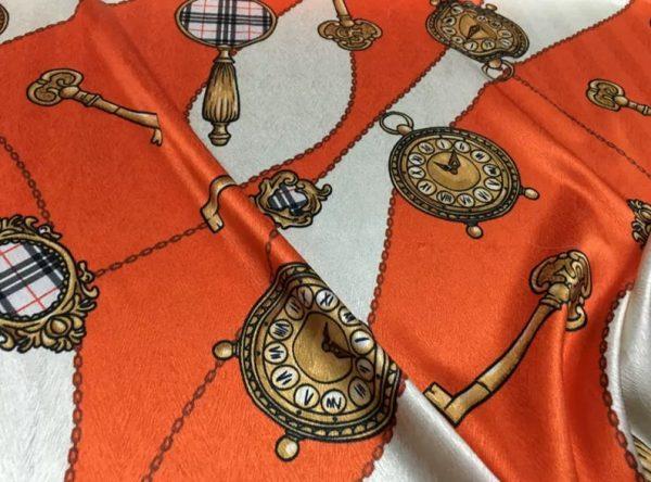 New Rare Silk Stretch Inkjet 19momme Italian Authentic Designer Fabric Fashion 95%silk, 5spandex/Inkjet Belt Print Fabric 3