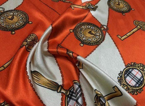 New Rare Silk Stretch Inkjet 19momme Italian Authentic Designer Fabric Fashion 95%silk, 5spandex/Inkjet Belt Print Fabric 1
