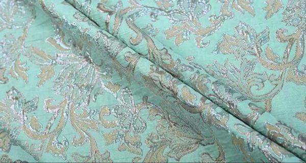 New!Italian Designer Blue Gold Thread Jaquard Fabric Yarn Dyed Cotton/Designer Brocade Jacquard Fabric floral pattern/Exclusive Fabric 5