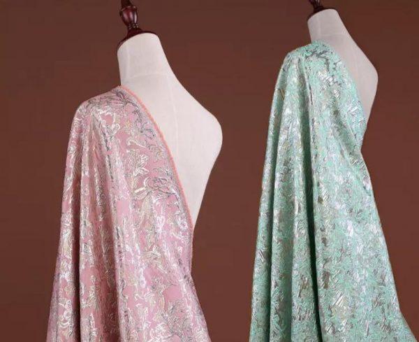 Italian Designer Blue Gold Thread Jaquard