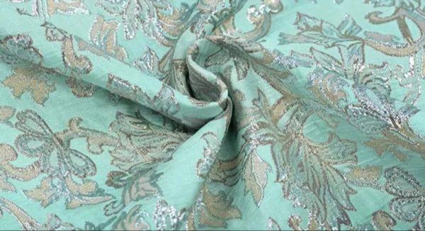 New!Italian Designer Blue Gold Thread Jaquard Fabric Yarn Dyed Cotton/Designer Brocade Jacquard Fabric floral pattern/Exclusive Fabric 1