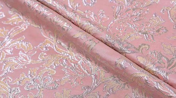 New!Italian Designer Pink#2 Gold Thread Jaquard Fabric Yarn Dyed Cotton/Designer Brocade Jacquard Fabric floral pattern/Exclusive Fabric 1