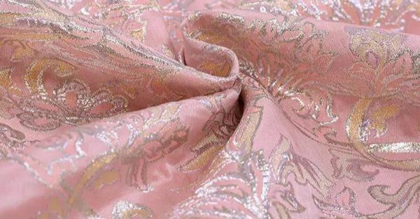 New!Italian Designer Pink#2 Gold Thread Jaquard Fabric Yarn Dyed Cotton/Designer Brocade Jacquard Fabric floral pattern/Exclusive Fabric 2