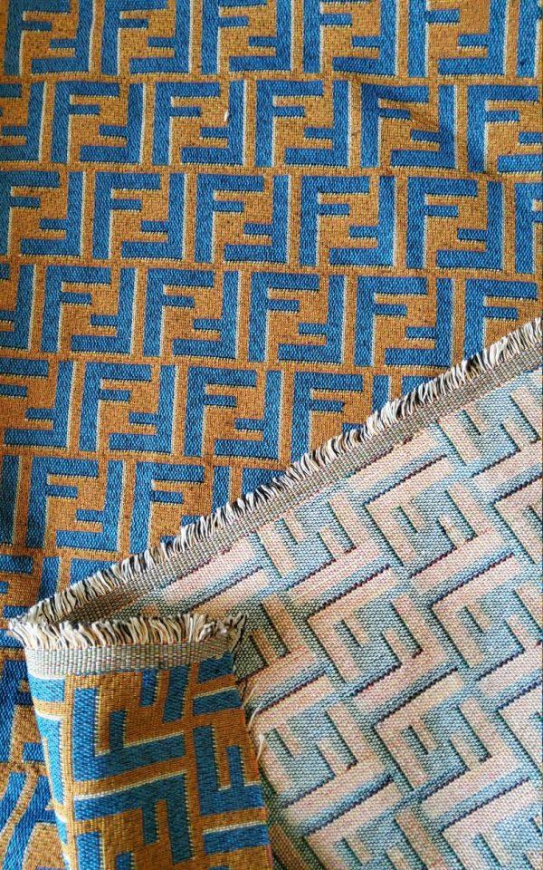 Fendi Jacquard Fabric Clothing and Upholstery 30%Cotton 70 Polyester 340gr width 145cm/BLUE letter Print Fendi Brocade Fabric Varies Colours 2 ⋆ Rozitta Rapetti