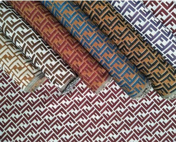 Fendi Jacquard Fabric Clothing and Upholstery 30%Cotton 70 Polyester 340gr width 145cm/BLUE letter Print Fendi Brocade Fabric Varies Colours 8 ⋆ Rozitta Rapetti
