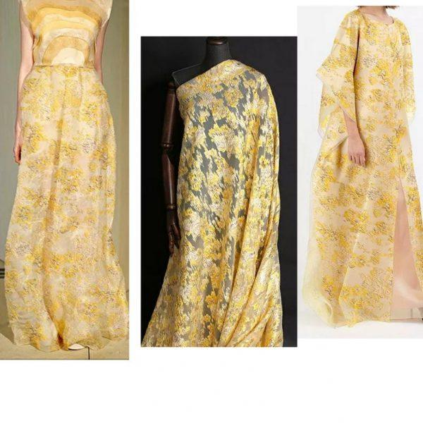 New Collection 3D Italian Satin Bright Yellow Brocade/Incredible Couture Fabric Nylon,Polyester,Satin,organza/Very Rare Brocade Fabric 4 ⋆ Rozitta Rapetti