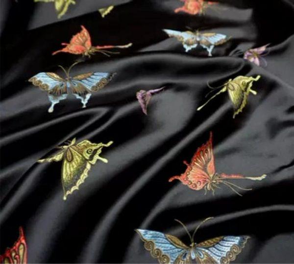 Valentino Italian Designer Fabric Silk Satin Butterfly Pattern/Valentino fashion Week Fabric New Collection Italian Fabrics 5