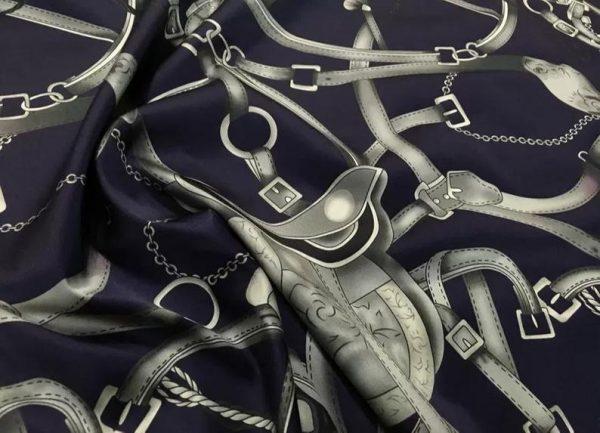 Silk Stretch Inkjet 19momme Italian Authentic Designer Fabric Collection 95% silk 5spandex/Inkjet Quality Belt Sadles print Fabric 2