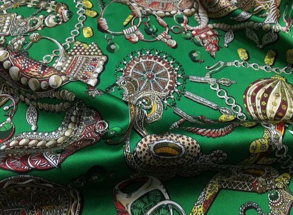 Double Silk Stretch Satin Inkjet 19momme Italian Authentic Designer Fabric Fashion 95% silk 5spandex/Inkjet Jewellery print Fabric 4
