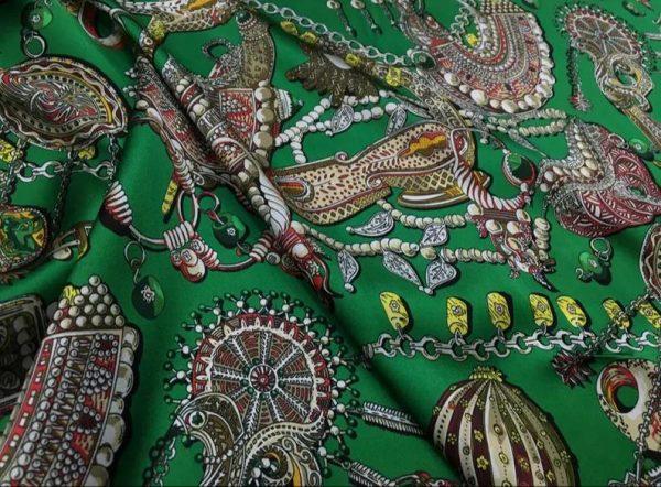 Double Silk Stretch Satin Inkjet 19momme Italian Authentic Designer Fabric Fashion 95% silk 5spandex/Inkjet Jewellery print Fabric 6